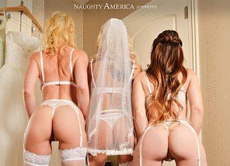 """Bianca Burke, Kenzie Taylor, Kit Mercer in """"White, Wet Wedding Orgy"""""""